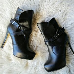 Black slip on stiletto ankle boots